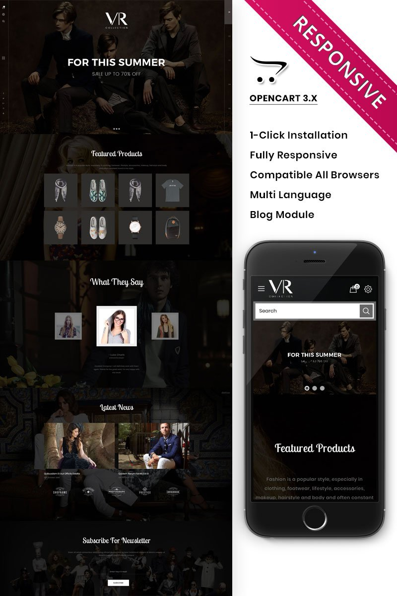 """VR Collection Fashion Store Responsive"" - адаптивний OpenCart шаблон №82205"