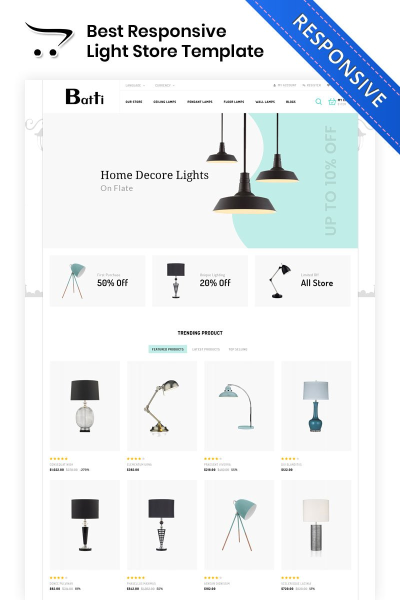 Bootstrap Batti - The Lighting Store OpenCart-mall #82324