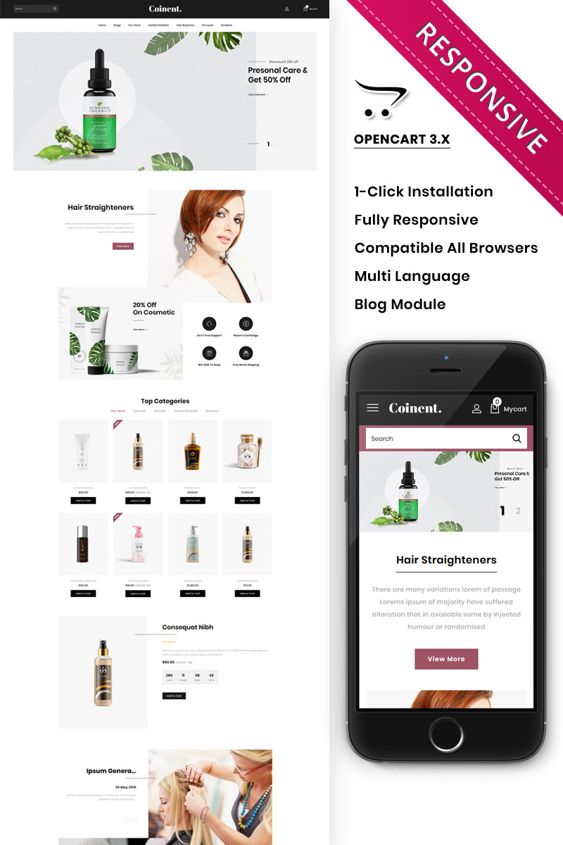 """Coinent - The Cosmetic Store Responsive"" 响应式OpenCart模板 #82366 - 截图"