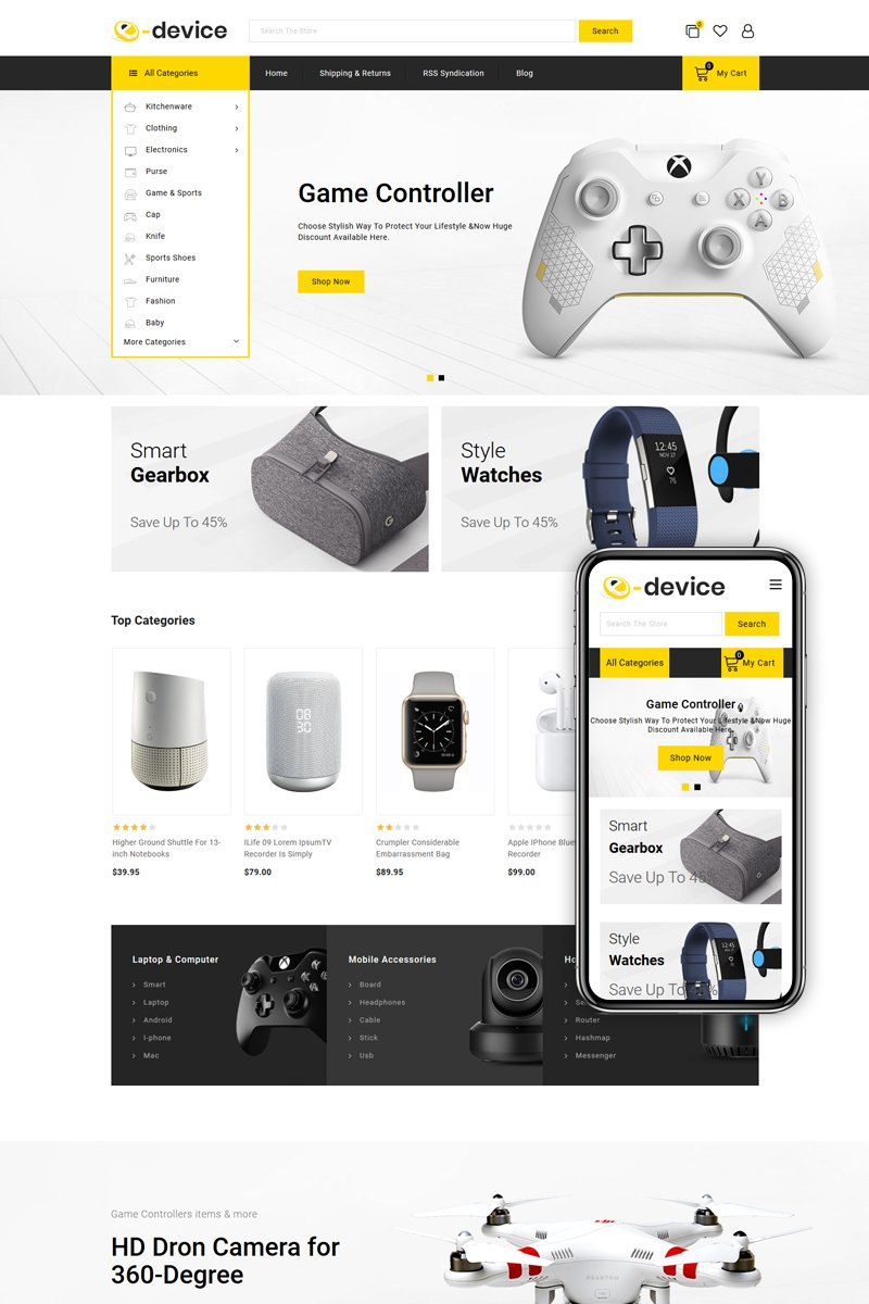 """e-Device - Multipurpose Stencil"" 响应式BigCommerce Theme #82353 - 截图"
