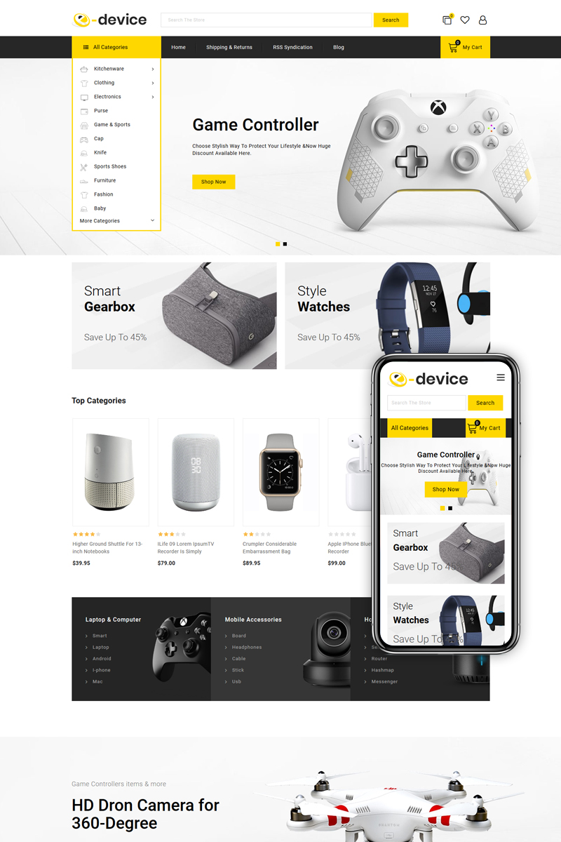 """e-Device - Multipurpose Stencil"" 响应式BigCommerce Theme #82353"