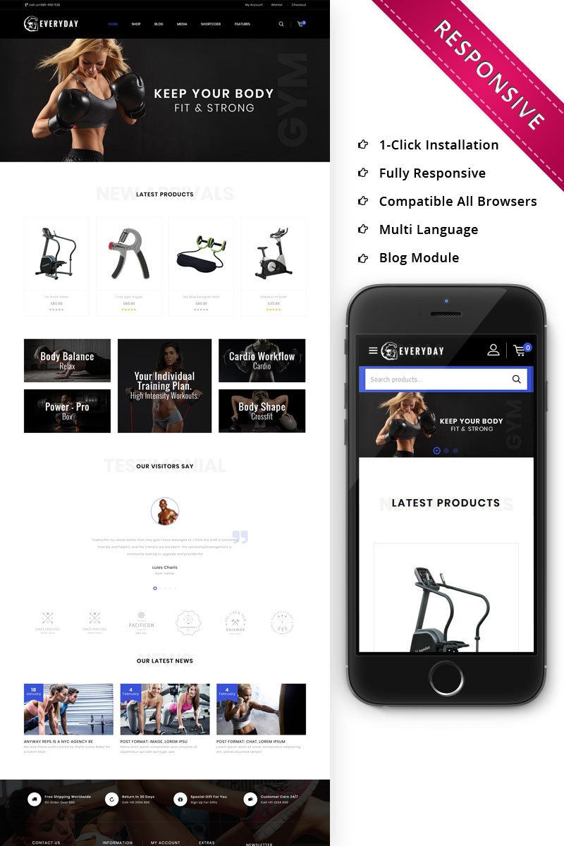 Everyday - The Gym Online Store Tema WooCommerce №82399