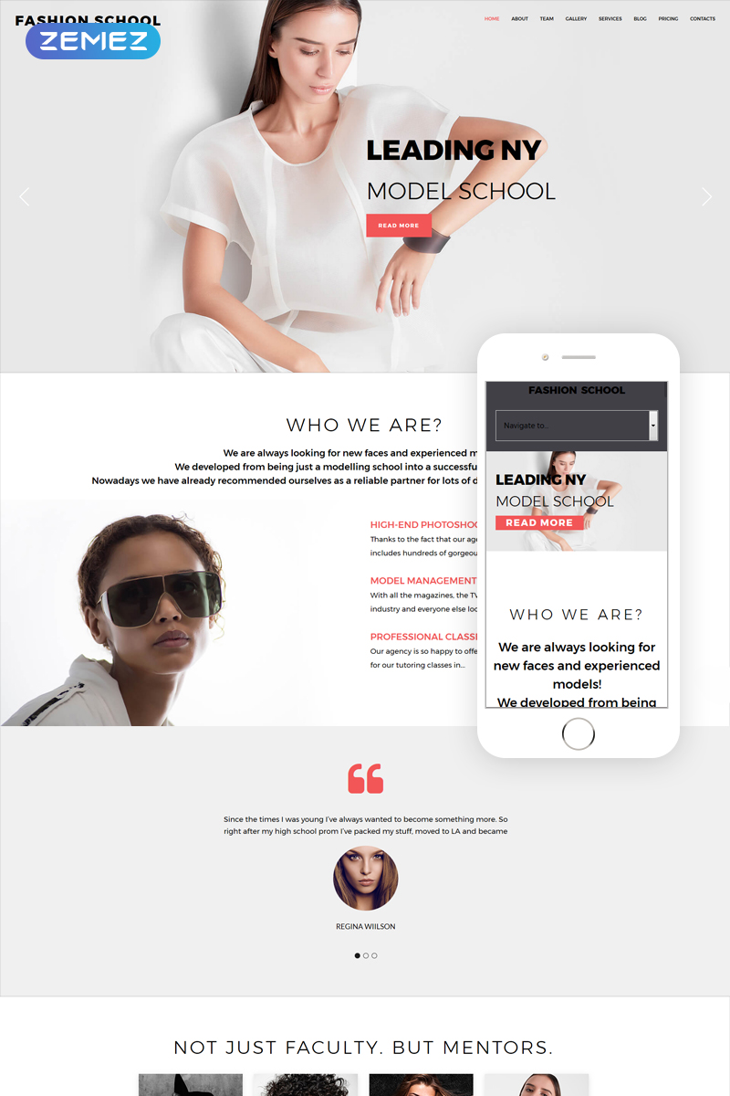 Fashion School - Model Agency Responsive Joomla Template - screenshot