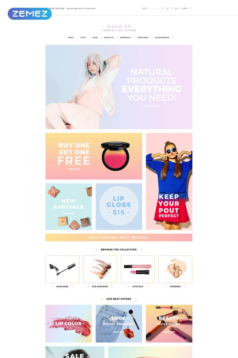"""Make Up - Cosmetic store Multipage Clean"" Responsive OpenCart Template №82327"