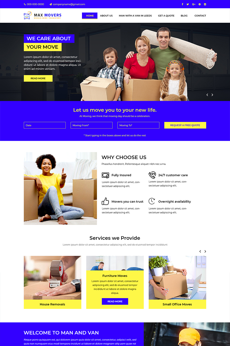 Max Movers - Removals Company PSD Template