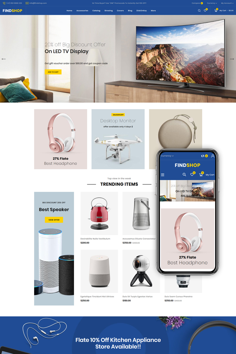 """Modello Shopify #82382 """"Findshop - Sectioned Multipurpose Store"""""""