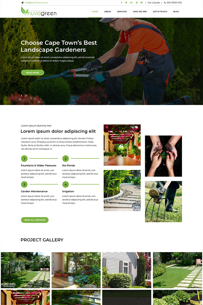 Nuva Green - Landscaping Services PSD Template