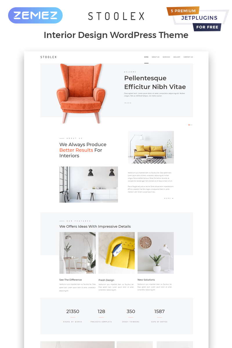 "Tema De WordPress ""Stoolex - Interior Design Multipurpose Minimal Elementor"" #82329"