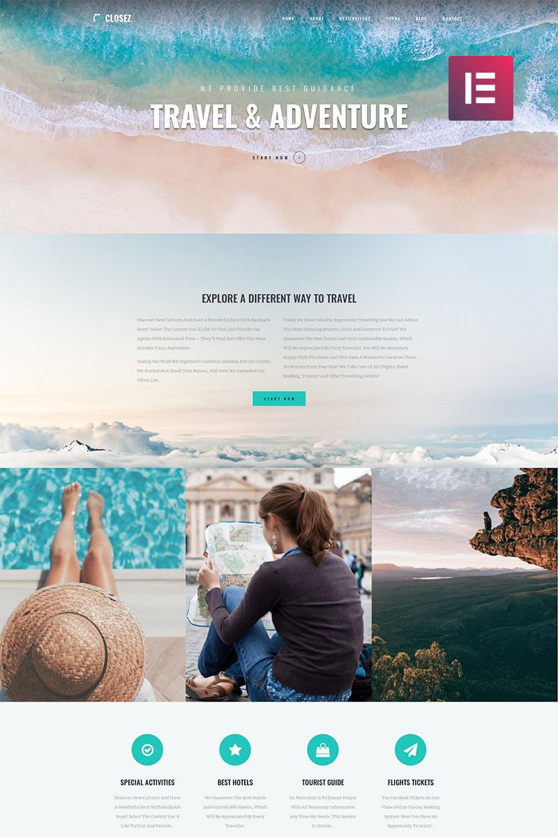 "Tema WordPress Responsive #82395 ""Closez - Tourism One Page Modern Elementor"""