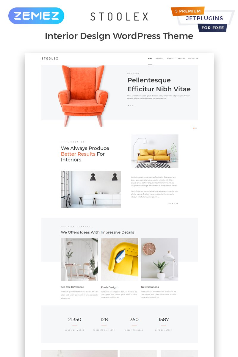 "WordPress motiv ""Stoolex - Interior Design Multipurpose Minimal Elementor"" #82329"