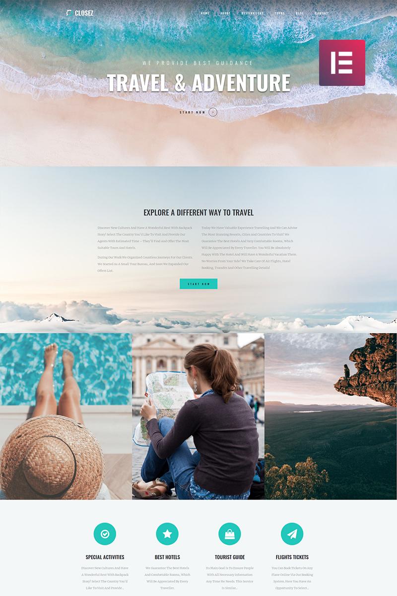 "WordPress Theme namens ""Closez - Tourism One Page Modern Elementor"" #82395"