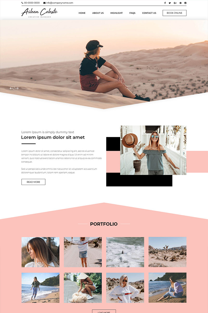 """Aileen Celeste - Personal Blog"" modèle PSD  #82418"