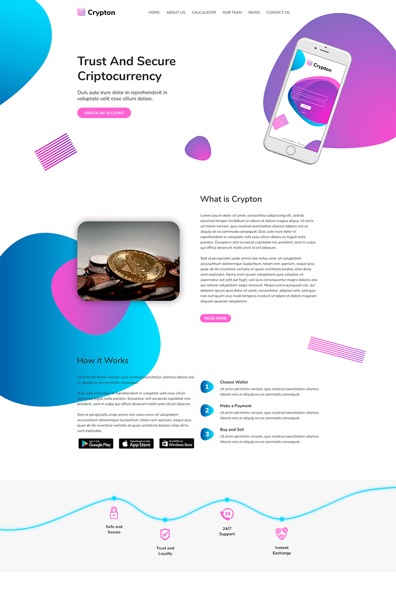 Crypton | Cryptocurrency PSD Template