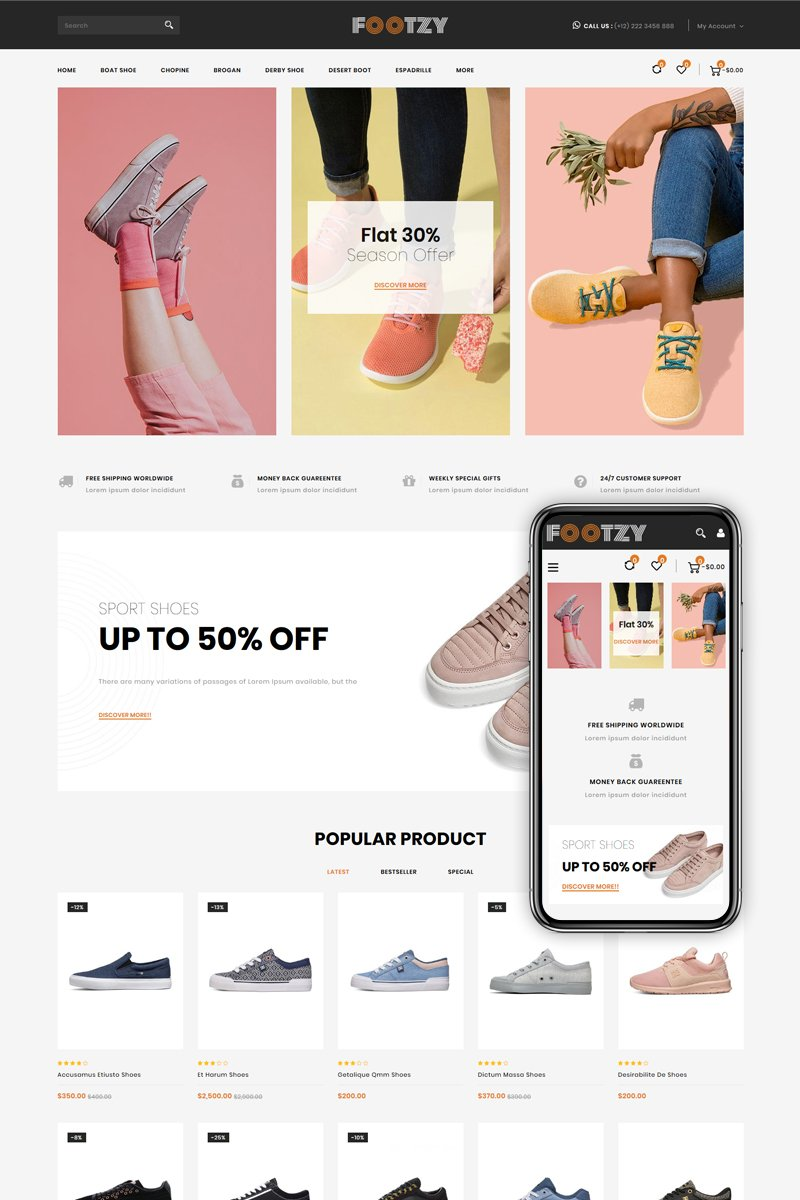 Footzy - Shoes Store Shopify Theme