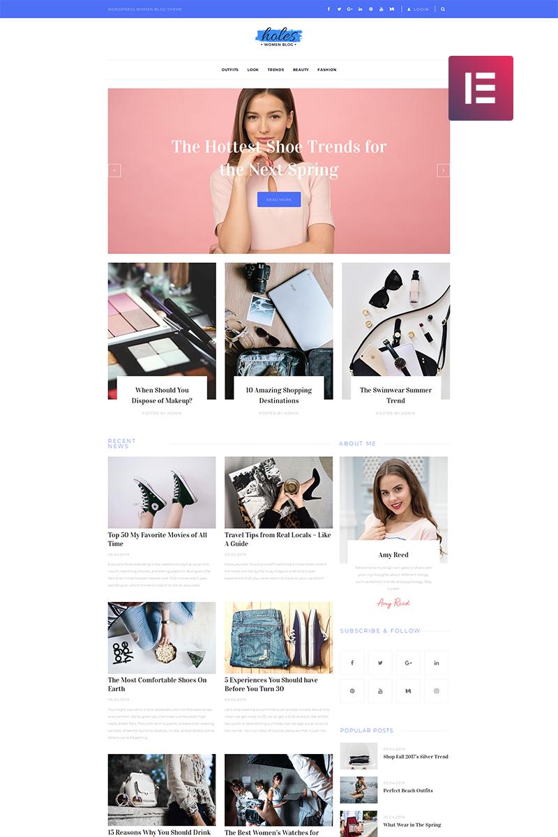 """Holes - Women Blog Multipurpose Classic Elementor"" Responsive WordPress thema №82483"