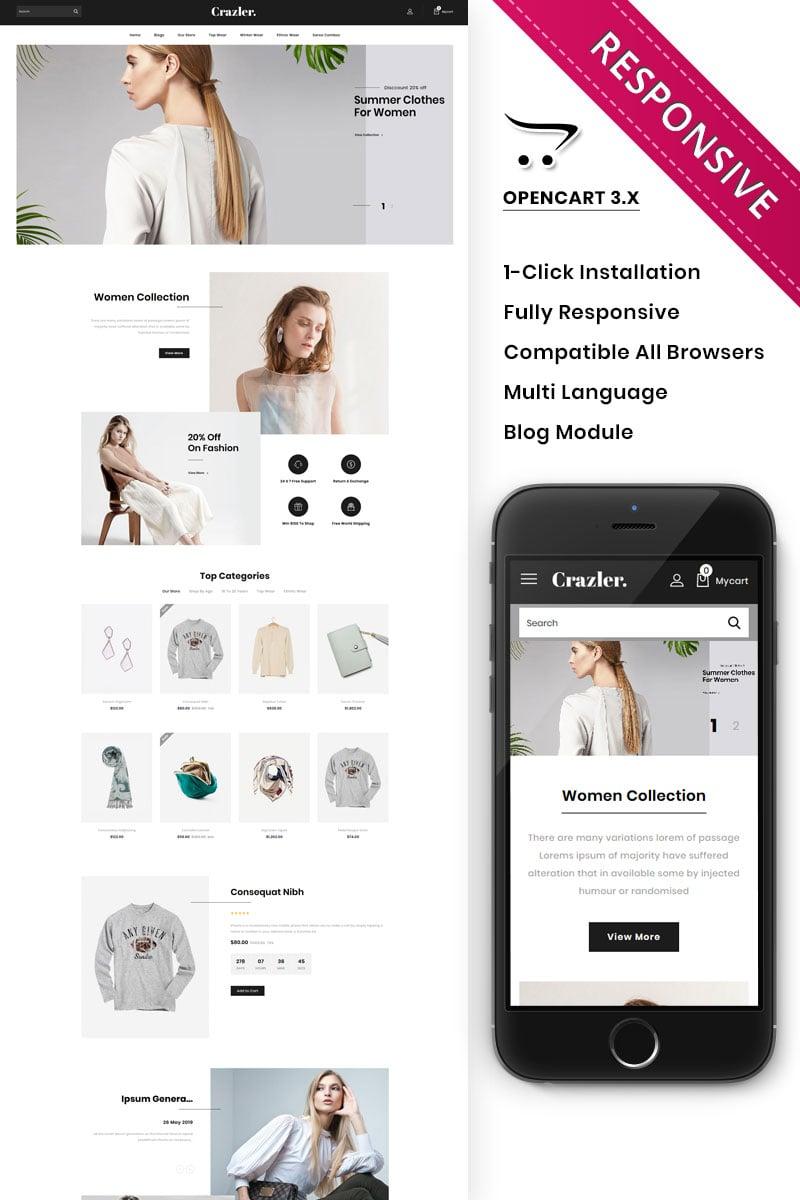 "OpenCart Vorlage namens ""Crazler - The Fashion Store Responsive"" #82400"