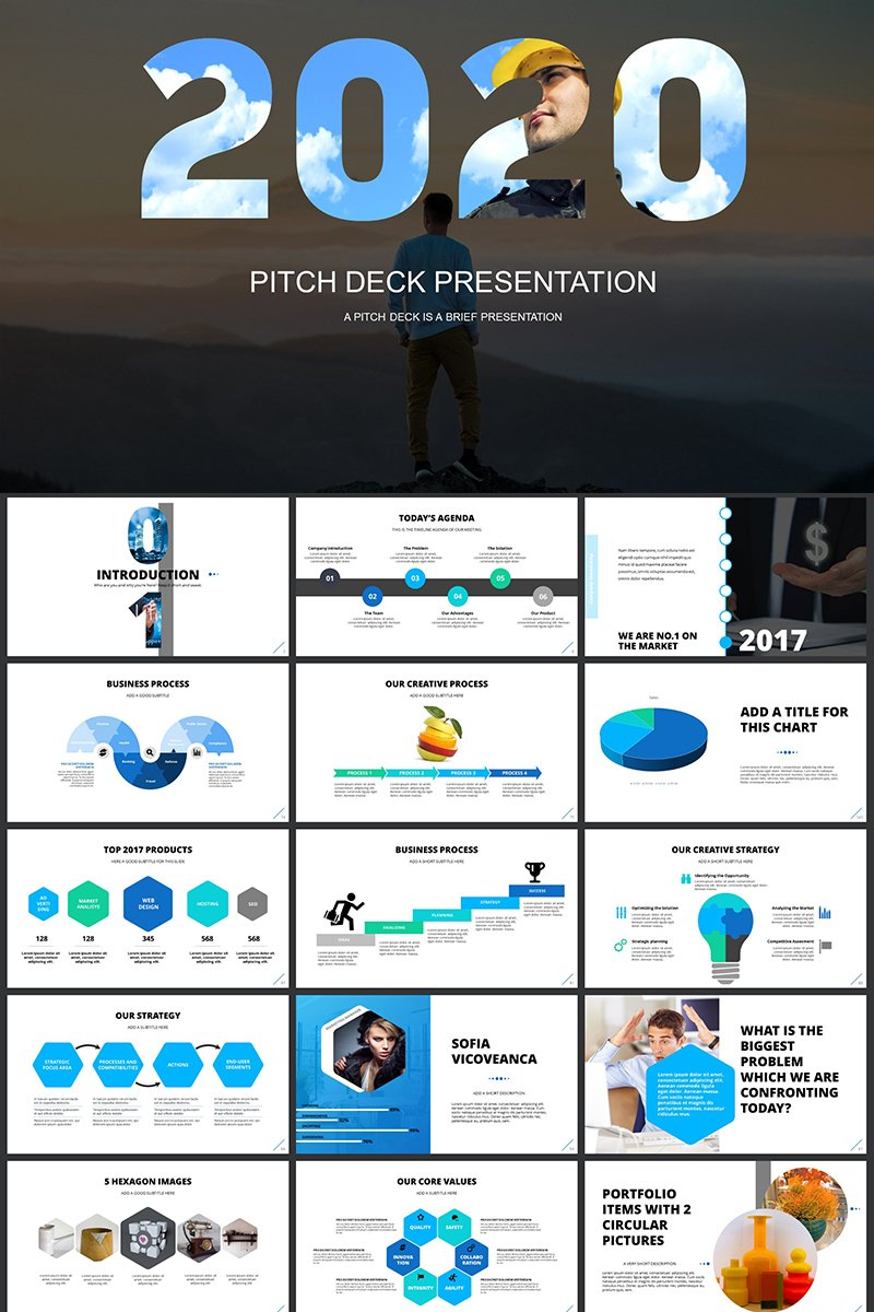 """""""Pitch Deck 2019"""" PowerPoint Template №82406"""