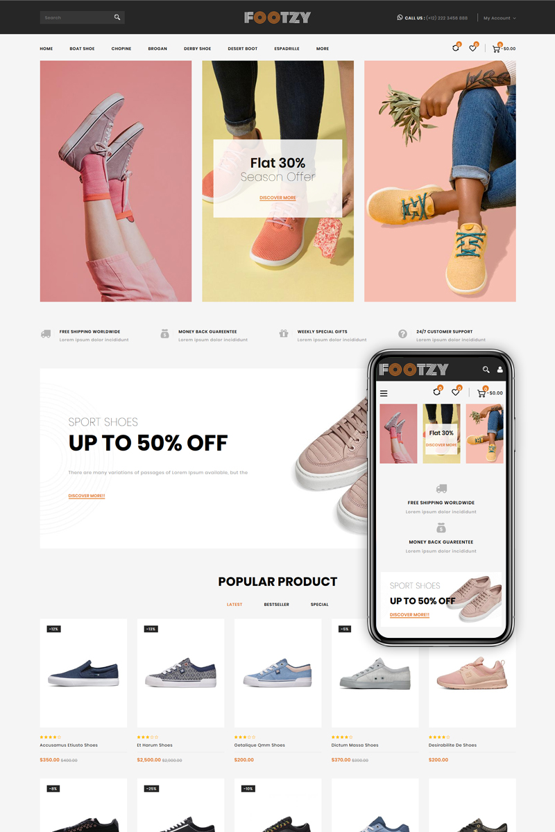 "Shopify Theme namens ""Footzy - Shoes Store"" #82473"