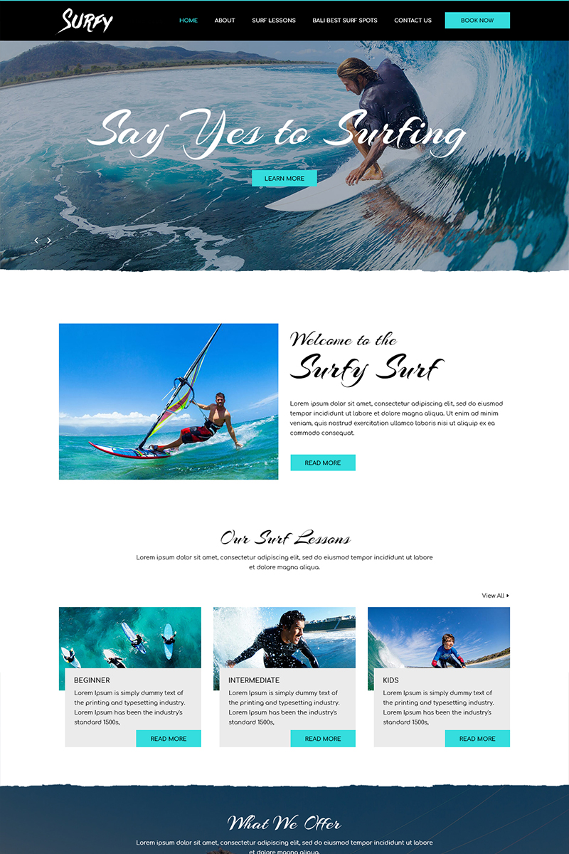 """""""Surfy - Surfing"""" PSD Template №82423"""