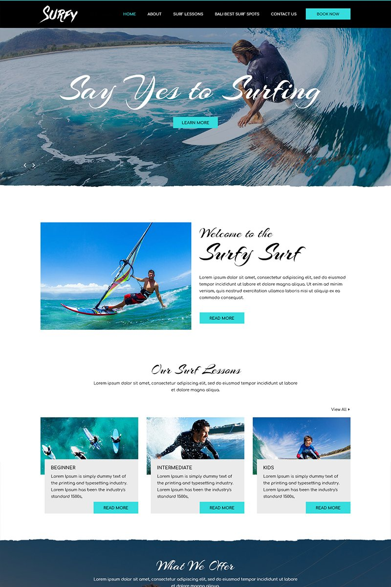 Surfy - Surfing PSD Template