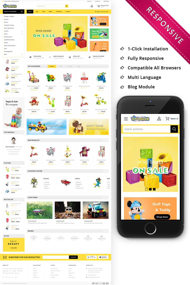 "WooCommerce Theme namens ""Toyinsider - The Kids PlayStore"" #82462"