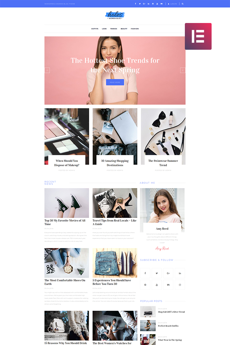 "WordPress Theme namens ""Holes - Women Blog Multipurpose Classic Elementor"" #82483"