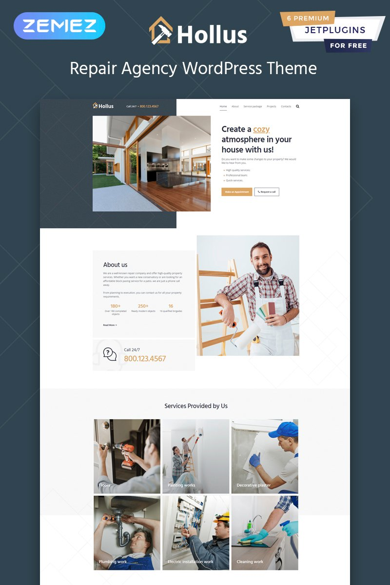 "WordPress Theme namens ""Hollus - Repair Services Multipurpose Modern Elementor"" #82484"