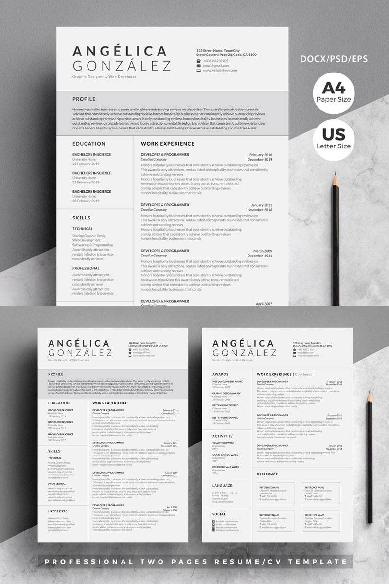 Angelica Professional/Cv 4 Pages Pack Resume Template
