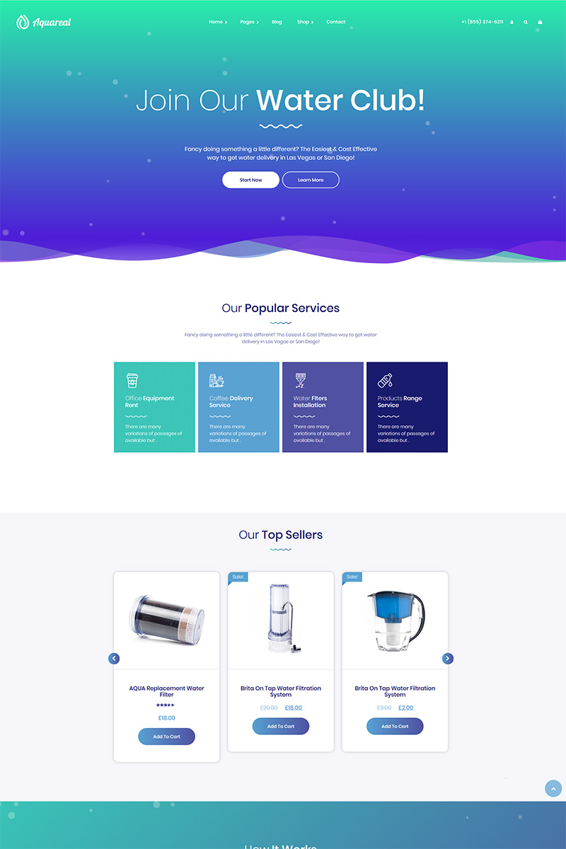 """""""Aquareal - Bottled Water Delivery"""" Responsive WordPress thema №82561"""