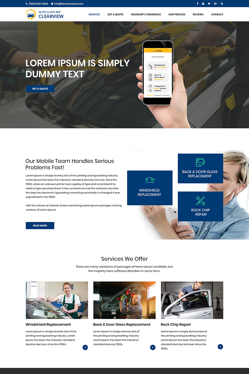 Auto Glass - Car Glass Service PSD Template