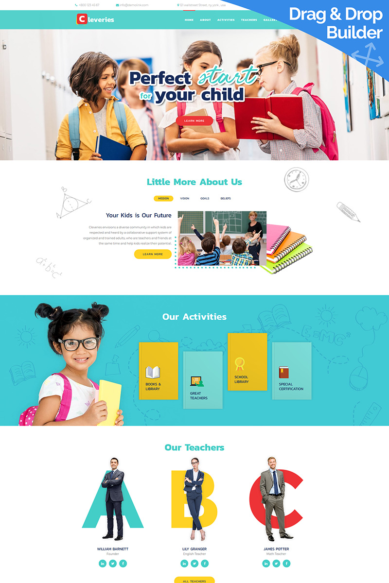 Cleveries - Kids School Moto CMS 3 Template