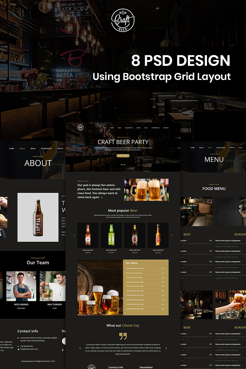 """Craft Beer - Beer Pub PSD Template"" PSD Template №82530"