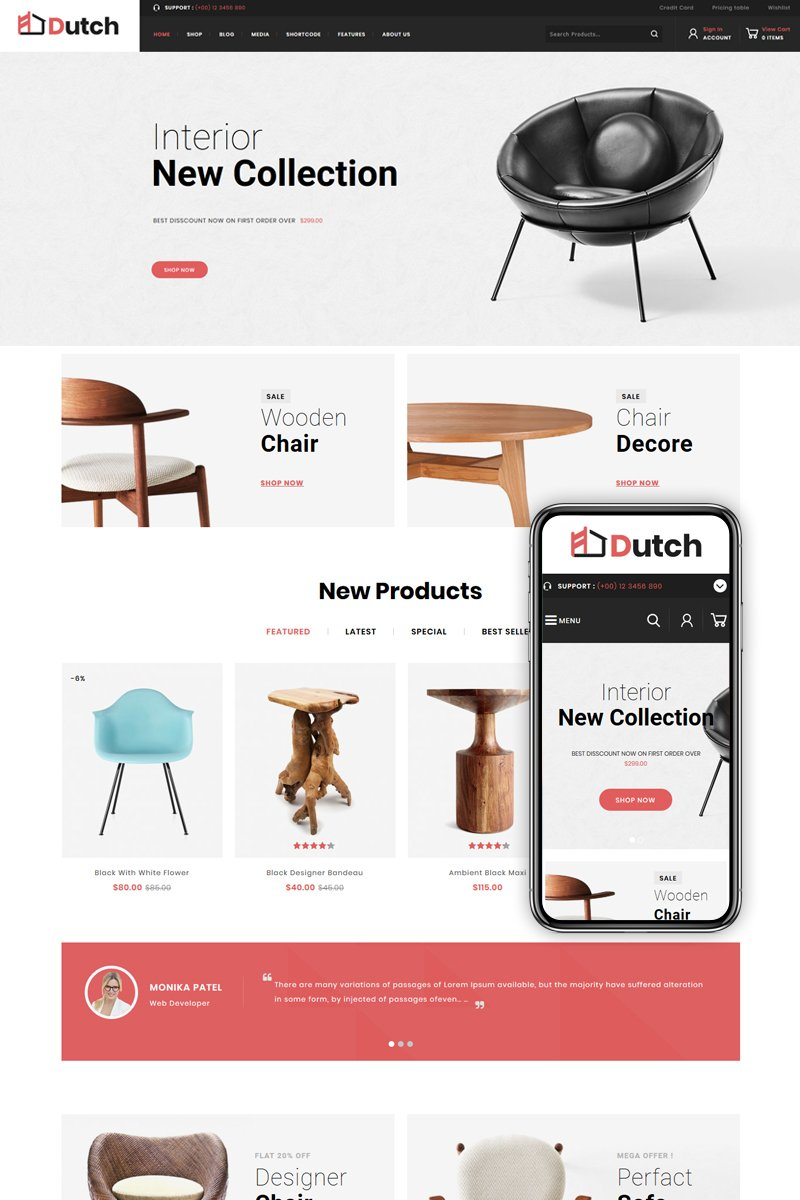 """Dutch - Furniture Store"" - адаптивний WooCommerce шаблон №82537"
