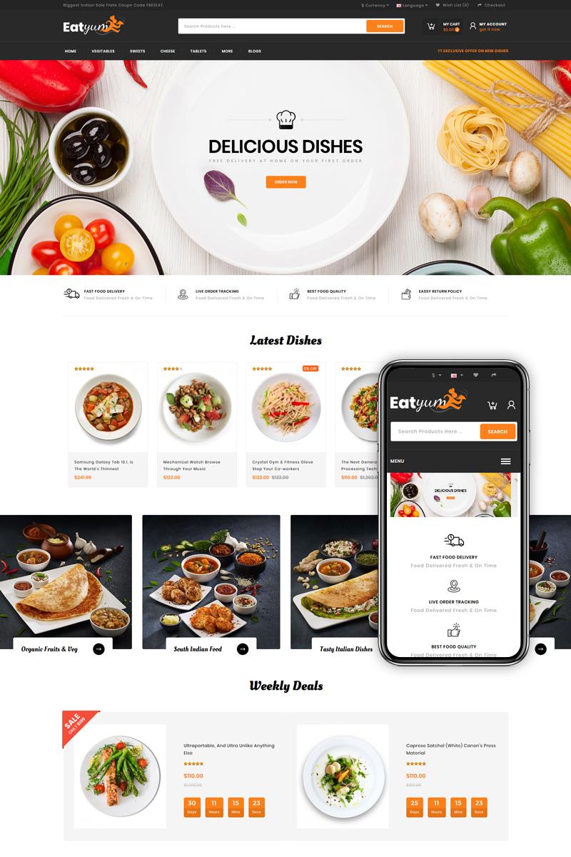 """Eatyum - Restaurant Shop"" - адаптивний OpenCart шаблон №82539"