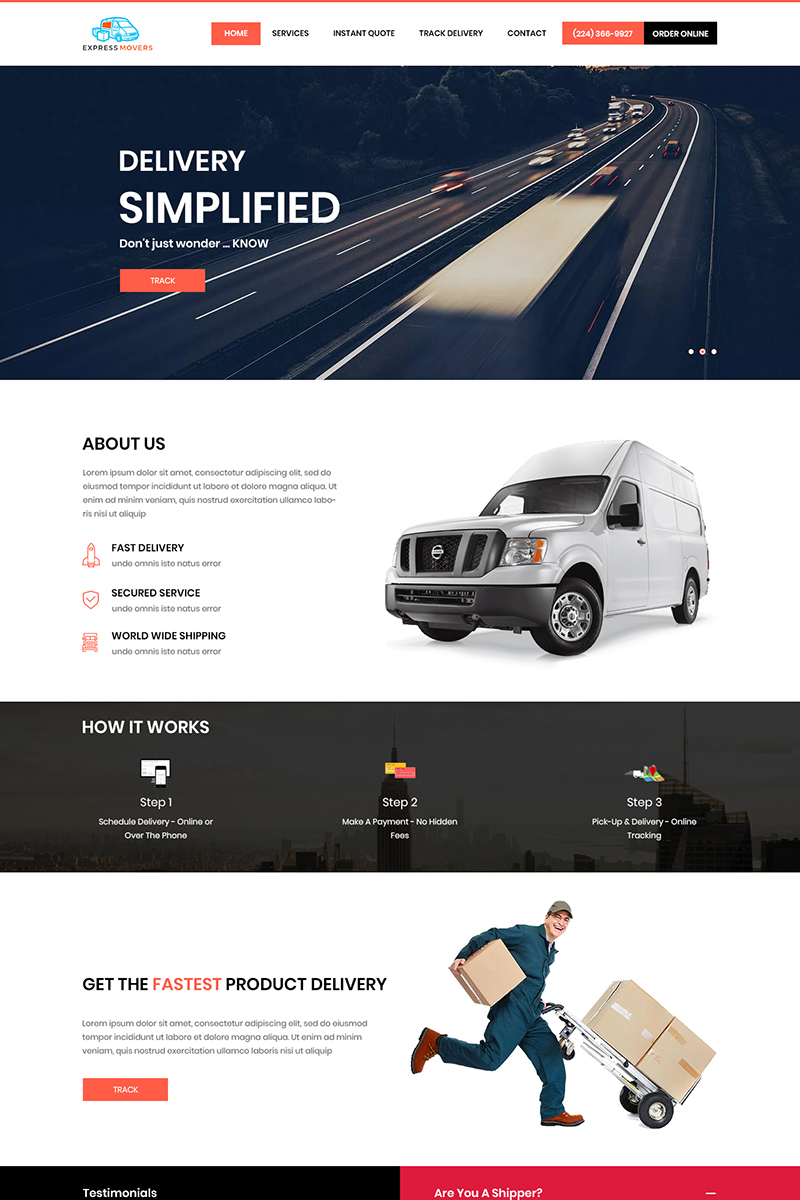 Express Movers - Moving Service PSD Template