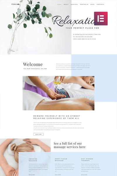 Femius - Massage Salon Ready-to-Use Minimal Elementor