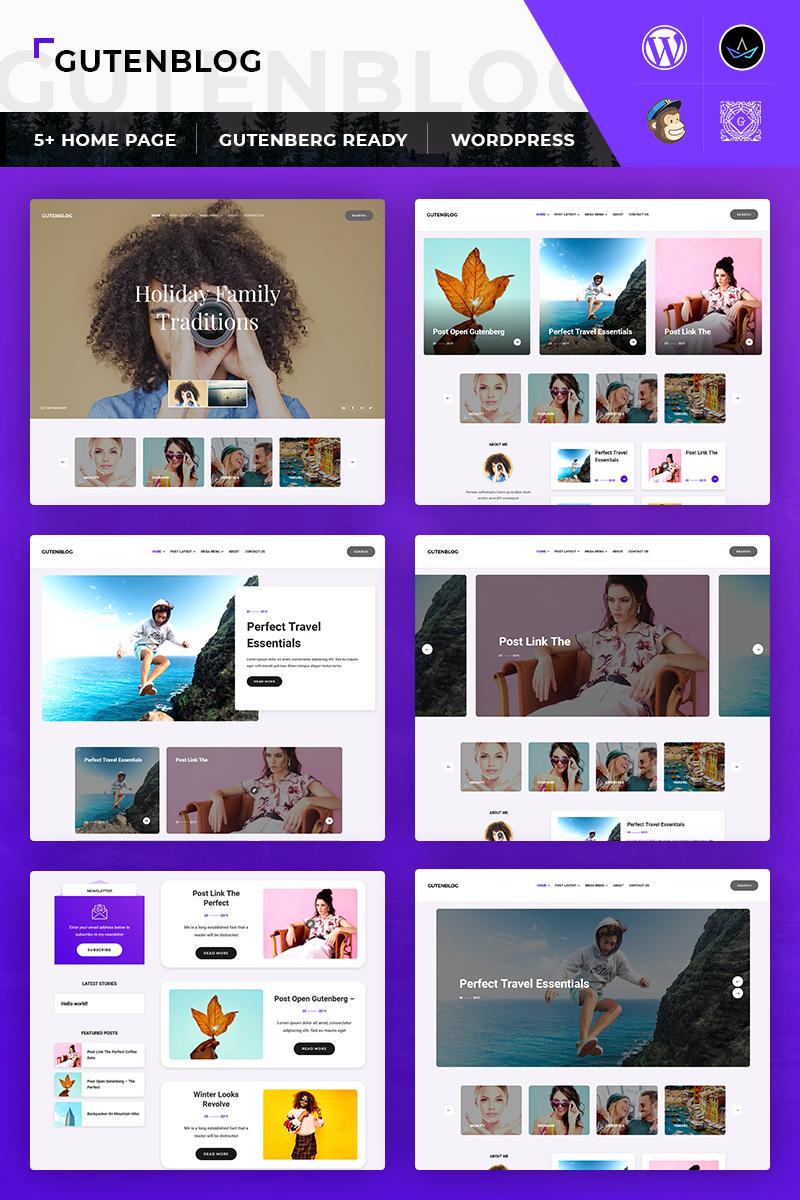 """""""GutenX : Personal Blog"""" Responsive WordPress thema №82571 - screenshot"""