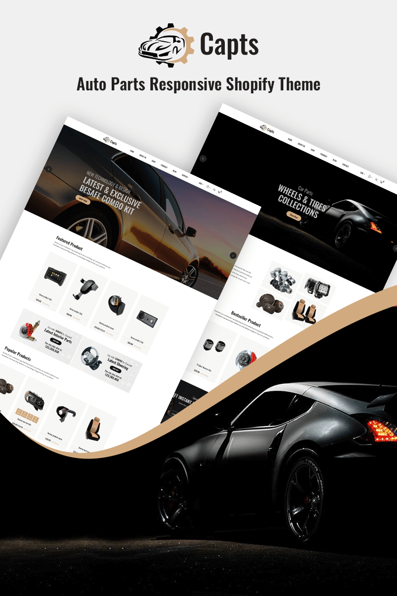 "Modello Shopify Responsive #82547 ""Capts - Auto Parts Responsive"""