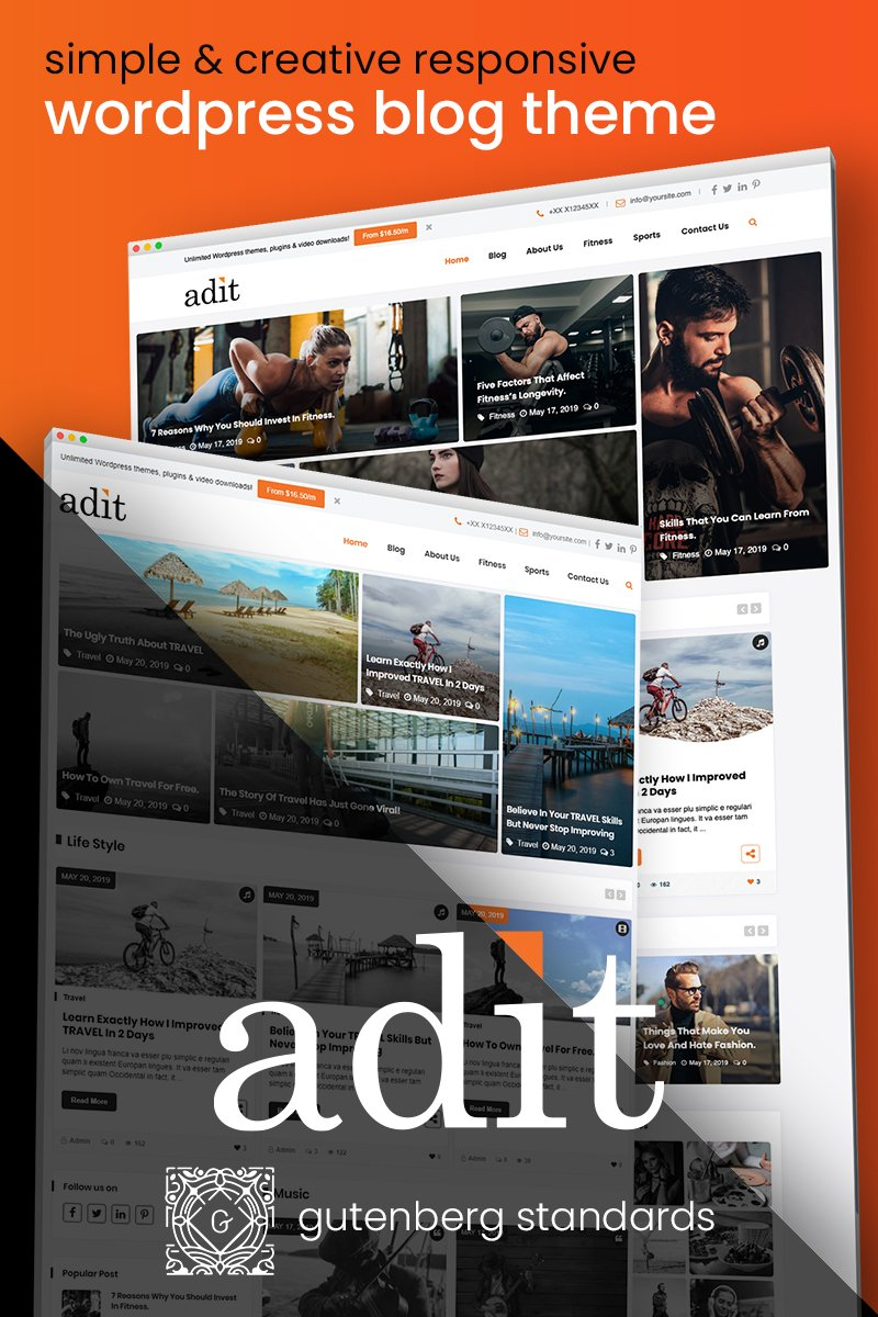 "Modello WordPress Responsive #82526 ""Adit - Blogging Made Easy"" - screenshot"