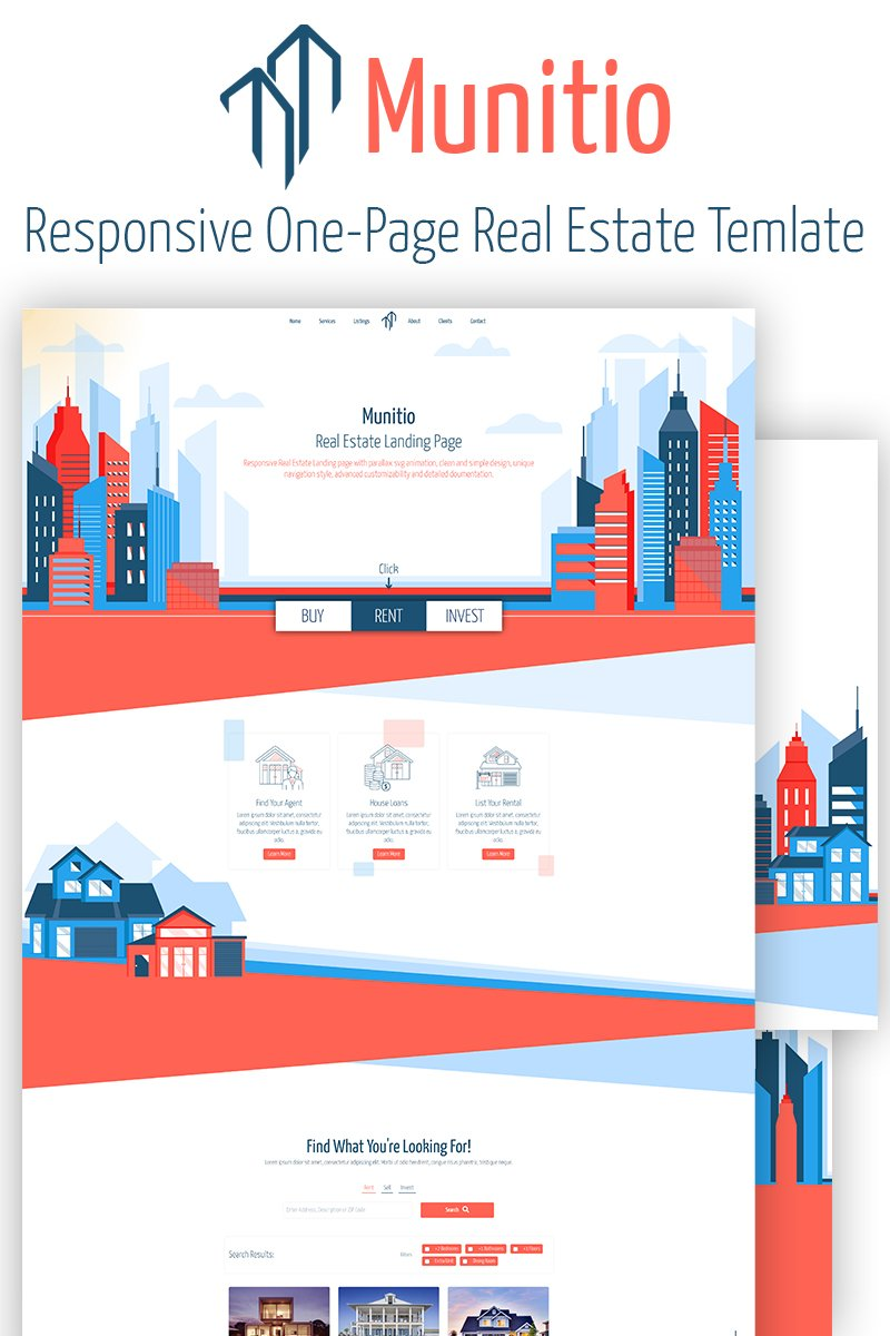 """Munitio - Responsive Real Estate"" 响应式着陆页模板 #82505"