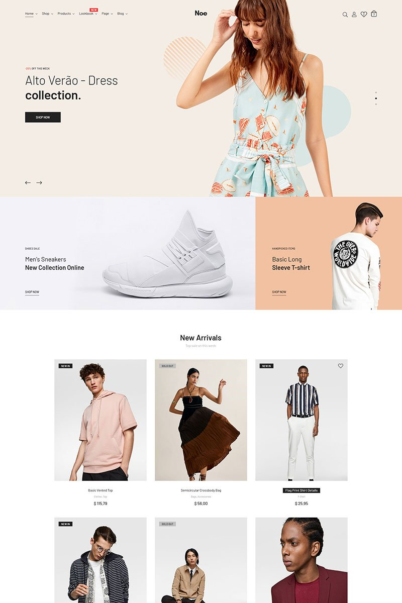 """Noe - Stylish & Fashion"" WooCommerce Thema №82598"