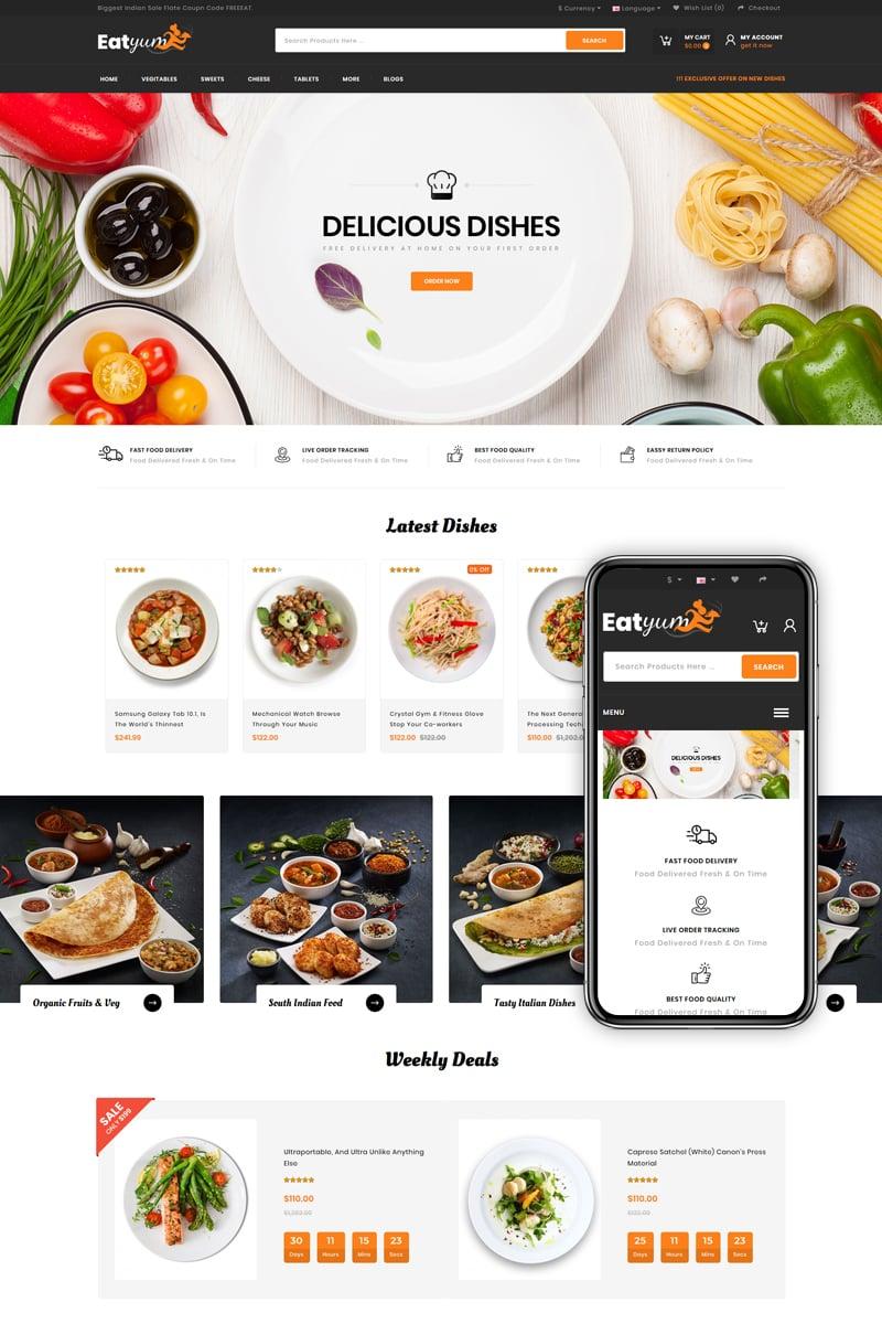 "Plantilla OpenCart ""Eatyum - Restaurant Shop"" #82539"