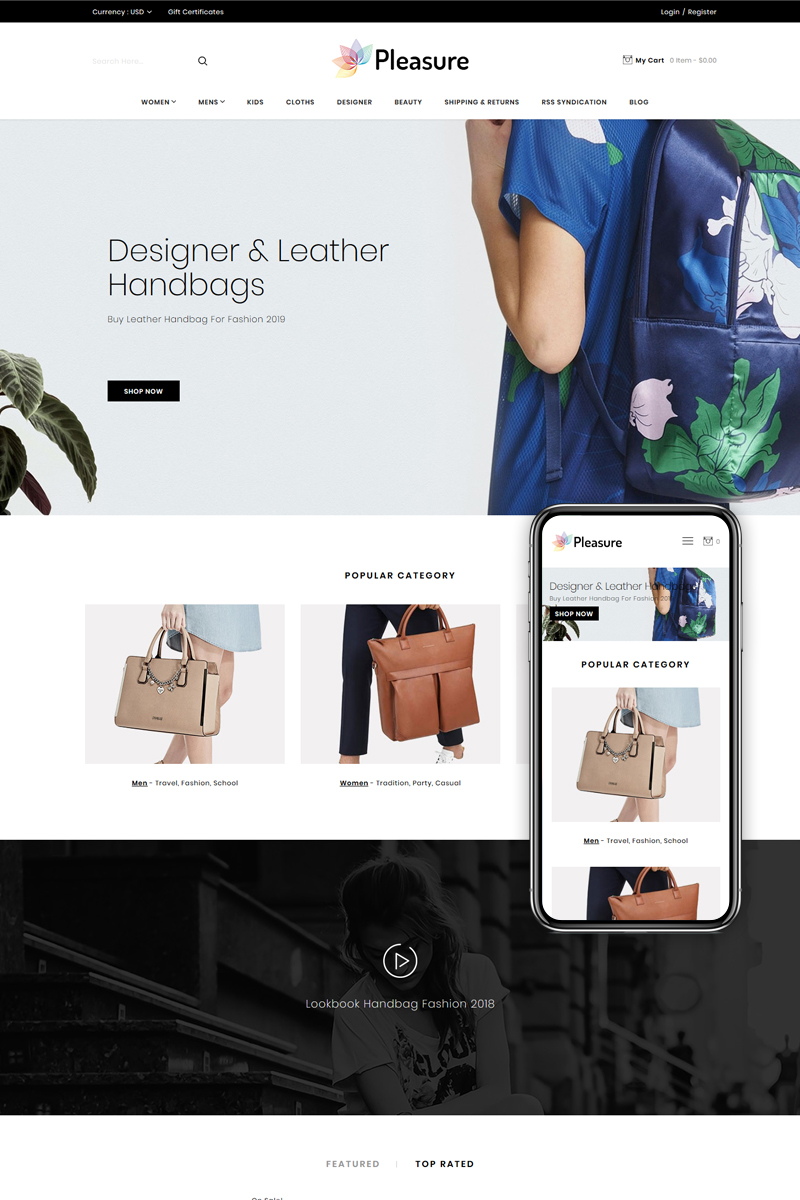 """Pleasure - Multipurpose Stencil"" 响应式BigCommerce Theme #82534"