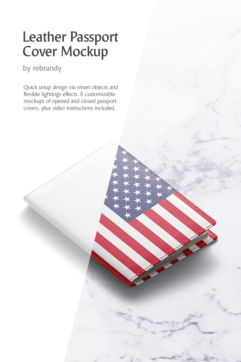 Produktowy mockup Leather Passport Cover #82510