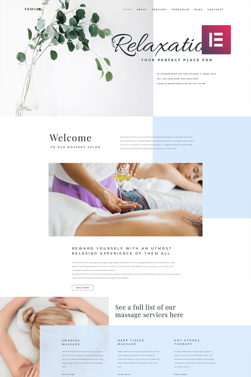 Responsivt Femius - Massage Salon Ready-to-Use Minimal Elementor WordPress-tema #82565