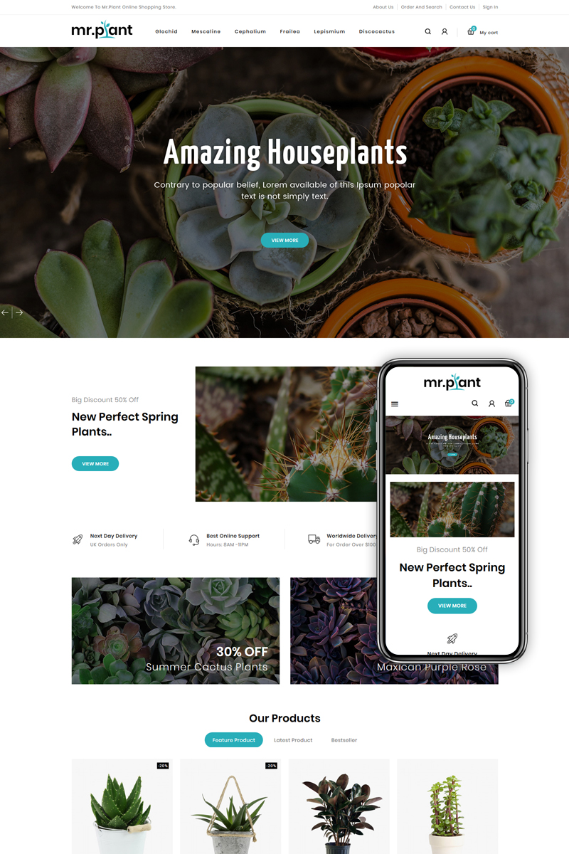 Responsivt MrPlant - Multi Purpose Store PrestaShop-tema #82551