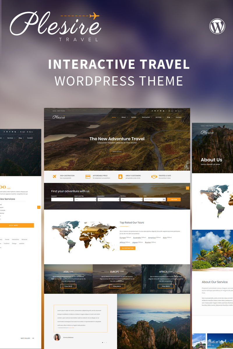 Responsivt Plesire - Interactive Travel WordPress-tema #82552 - skärmbild