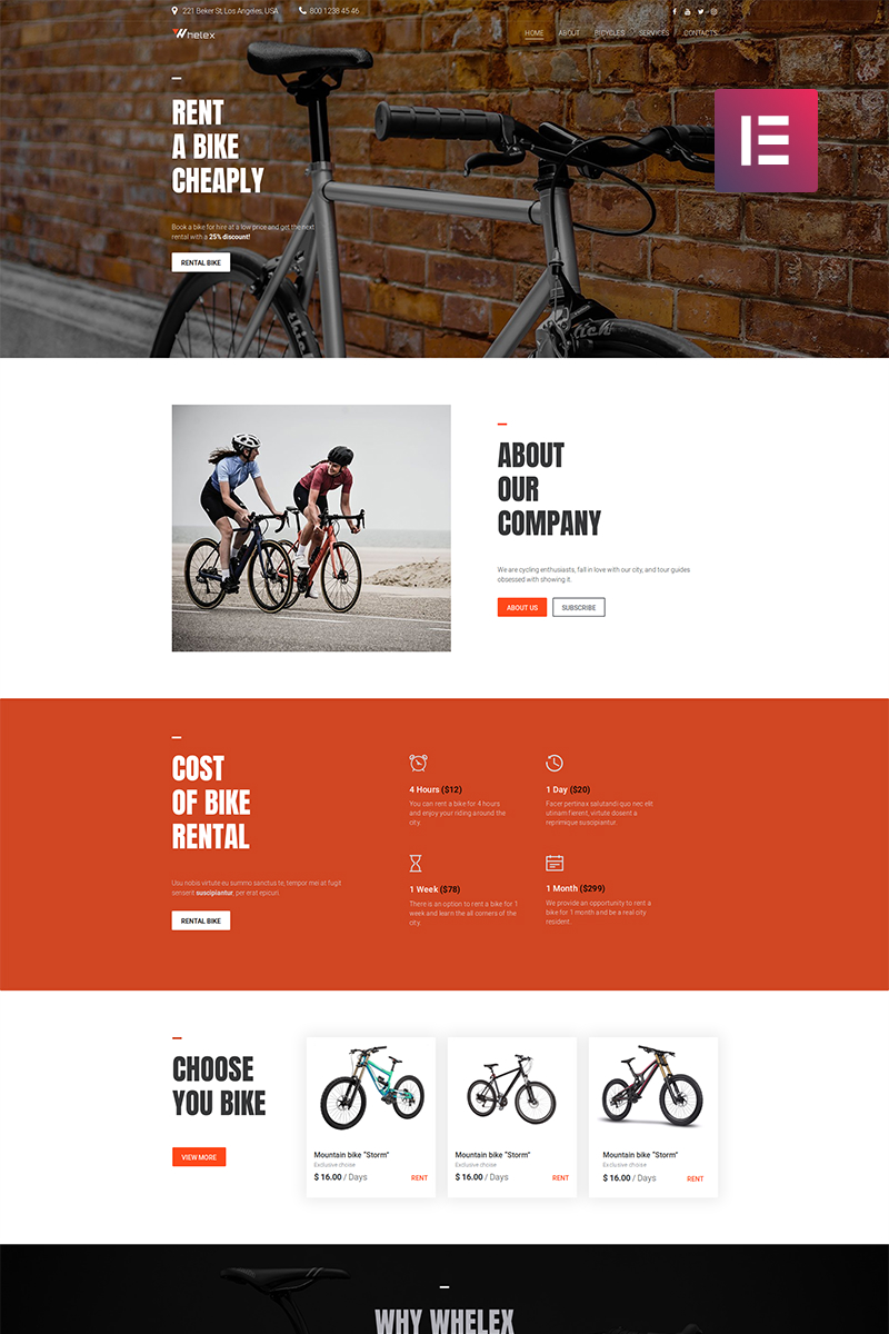 Responsivt Whelex - Bike Rent Multipurpose Modern Elementor WordPress-tema #82531