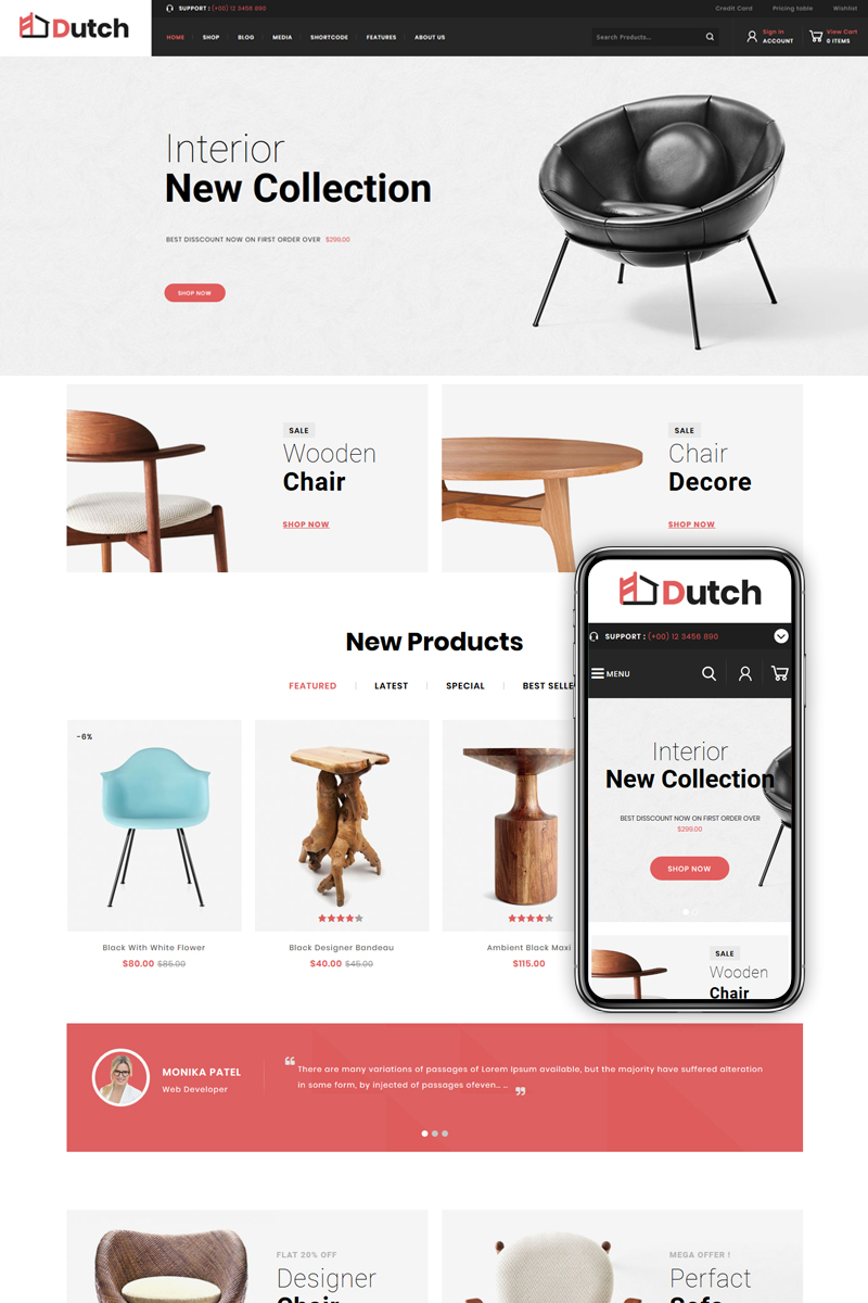 Responsywny motyw WooCommerce Dutch - Furniture Store #82537