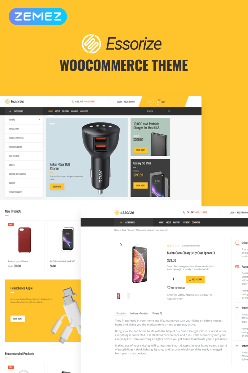 Responsywny motyw WooCommerce Essorize - Electronics ECommerce Classic Elementor #82524